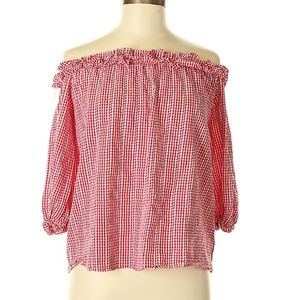 Very J red gingham off the shoulder top